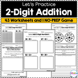 2-Digit Addition - Worksheets and NO-PREP Game