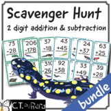 2 Digit Addition and Subtraction with Regrouping Math Scavenger Hunt BUNDLE