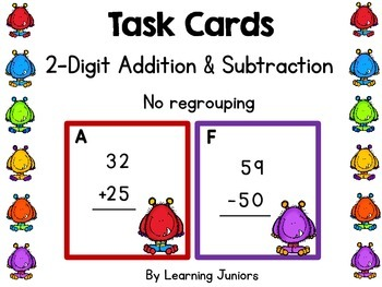 2-Digit Addition and Subtraction Without Regouping Task Cards