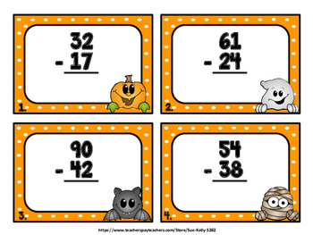 2-Digit Addition and Subtraction - 48 Halloween Themed Task Cards