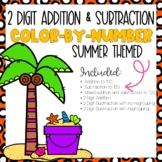 2 Digit Addition and Subtraction Color-By-Number Summer Themed