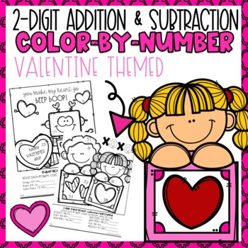 2 Digit Addition and Subtraction Color-By-Number Valentine Themed