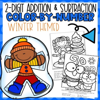 2 Digit Addition and Subtraction Color-By-Number Winter Themed