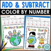 2-Digit Addition and Subtraction Color by Number - Earth D