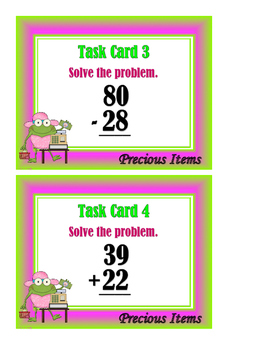 2-Digit Addition and Subtraction Mixed Problems - With Regrouping Task Cards