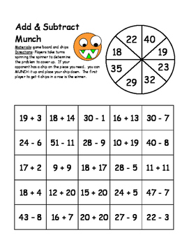 2-Digit Addition and Subtraction Munch