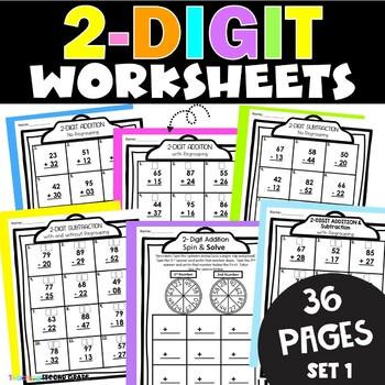 2 Digit Addition   2 Digit Subtraction Worksheets