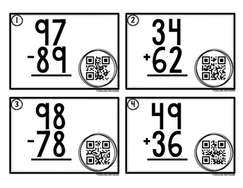 2-Digit Addition and Subtraction QR Code Task Cards