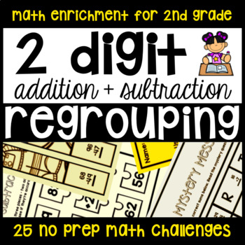 2-Digit Addition and Subtraction Regrouping 25 NO PREP Enr