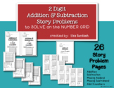 2 Digit Addition and Subtraction Story Problems Using a Number Grid to Solve