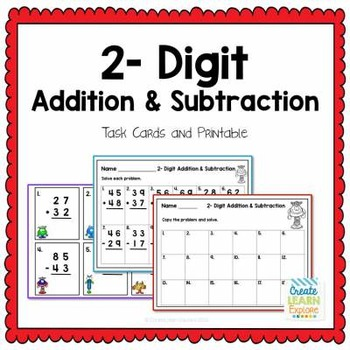 2-Digit Addition and Subtraction Task Cards