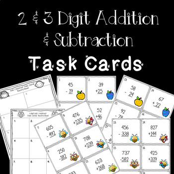 2 and 3 Digit Addition and Subtraction Task Cards