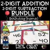 2-Digit  Addition and Subtraction Task Cards BUNDLE (Birthday Theme)