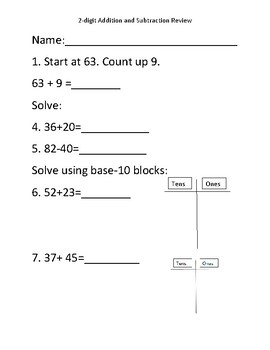 2-Digit Addition and Subtraction Unit Review