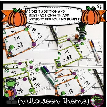 2-Digit Addition and Subtraction WITH & WITHOUT Regrouping  Bundle (Halloween)