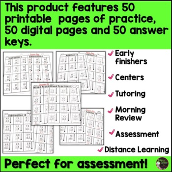 2-Digit Addition and Subtraction WITH and WITHOUT Regrouping Worksheets BUNDLE