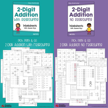 Double Digit Addition And Subtraction Worksheets Bundle With, Without Regrouping
