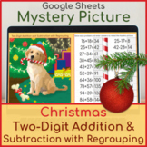 2 Digit Addition and Subtraction with Regrouping Mystery Picture Christmas Puppy