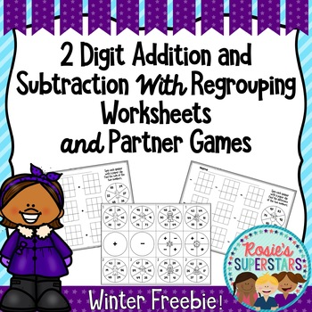 2 Digit Addition and Subtraction with Regrouping Spinner Freebie