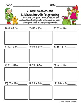 2-Digit Addition and Subtraction with and without Regrouping {Christmas Theme}