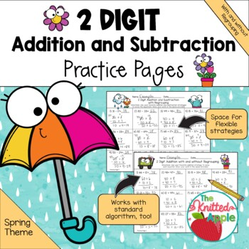 2-Digit Addition and Subtraction with and without Regrouping {Spring Theme}