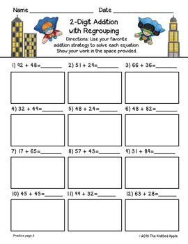 2-Digit Addition and Subtraction with and without Regrouping {Superhero Theme}