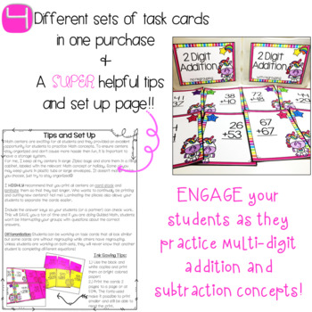 2-Digit Addition and Subtration Task Cards - Unicorn Theme