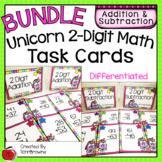2-Digit Addition and Subtration Task Cards Bundle  - Unicorn Theme