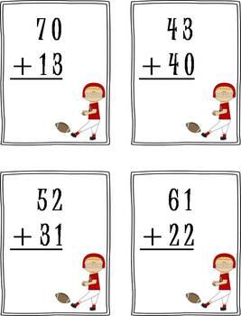 2 Digit Addition (no regrouping) Math Center - football theme