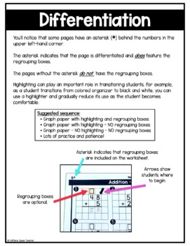 2 Digit Addition On Graph Paper Worksheets By Caffeine Queen Teacher