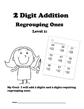 Leveled Math w/ Progress Chart: 2 Digit Addition with Regrouping Ones: Level 1