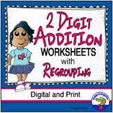 2 Digit Addition Worksheets w/ Regrouping Easel Activity Distance Learning
