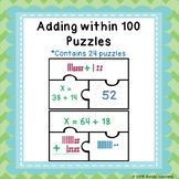 2 Digit Addition with Regrouping Base Ten Block Game Puzzles Add to 100 1.NBT.4