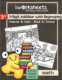2-Digit Addition - with Regrouping - Color-by-Answer Worksheets