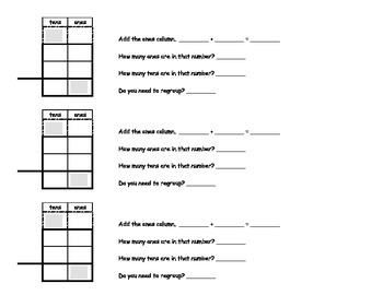 2 Digit Addition with Regrouping Common Core Standard 2.NBT.7