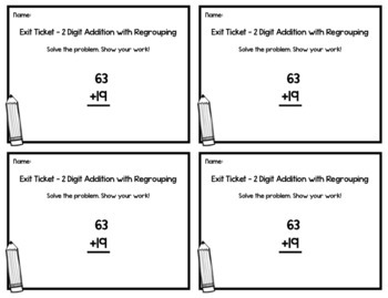 2 digit addition with regrouping exit tickets 20 assessments 2nd grade math. Black Bedroom Furniture Sets. Home Design Ideas