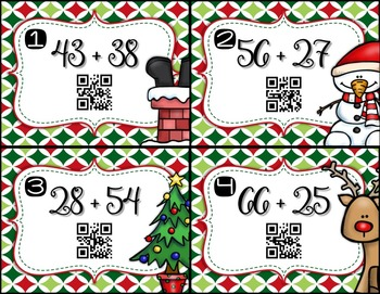 2-Digit Addition with Regrouping TASK CARDS - Christmas Themed with QR Codes!