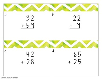 2 Digit Addition with Regrouping: Task Cards