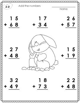 2 - Digit Addition with Regrouping Worksheets for Easter