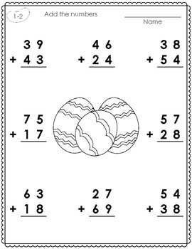 2 - Digit Addition with Regrouping Worksheets for Easter | TpT