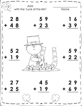 2 - Digit Addition with Regrouping Worksheets for St. Patrick's Day