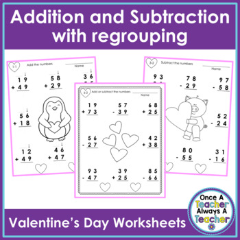 2 - Digit Addition & Subtraction with Regrouping Worksheet