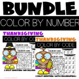 2 Digit Addition with and without Regrouping Coloring Sheets for Thanksgiving
