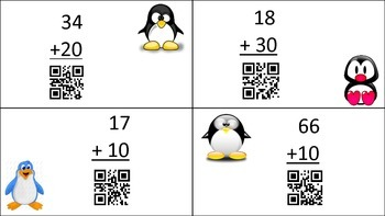 2-Digit Addition with multiples of 10 Self-Checking with QR Codes