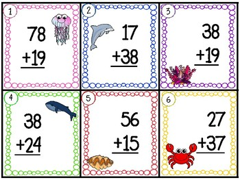 2-Digit Addition with regrouping 30 TASK CARDS (with answer key)