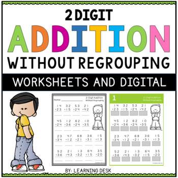 2 digit addition without regrouping worksheets by learning desk tpt. Black Bedroom Furniture Sets. Home Design Ideas
