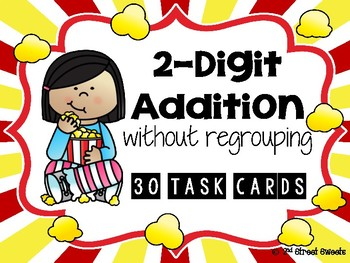 2-Digit Addition without regrouping 30 TASK CARDS (with answer key)