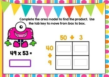 2-Digit Area Model Multiplication Boom Cards