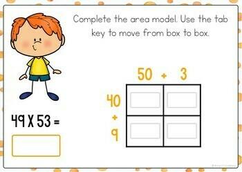 2-Digit Area Model Multiplication Boom Cards