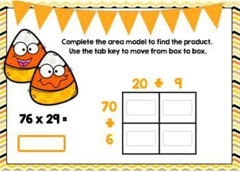 2-Digit Area Model Multiplication Digital Boom Cards